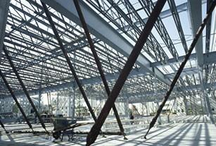 Photo intricate steel building construction in progress.
