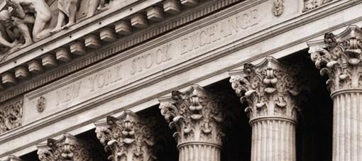 New York Stock Exchange facade closeup