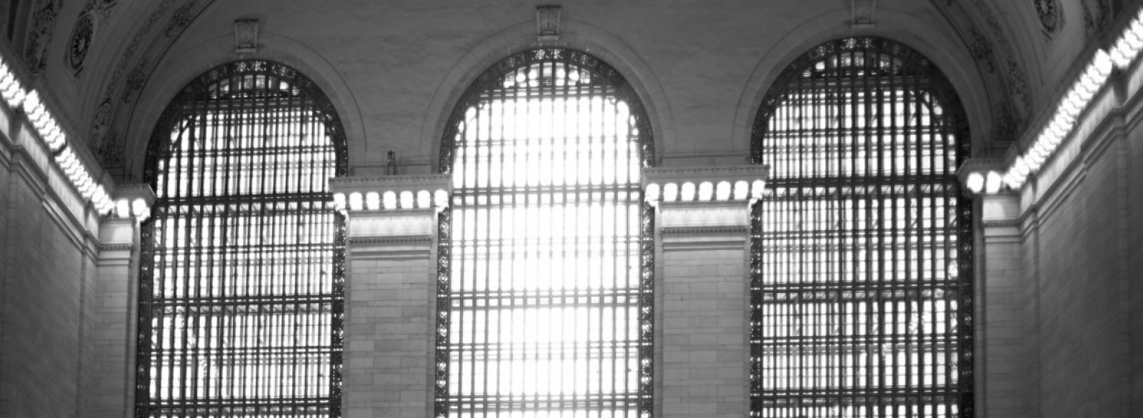 Interior photo of windows in Grand Central Terminal N.Y.C.