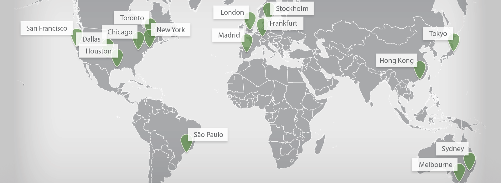 World Map with Greenhill Offices