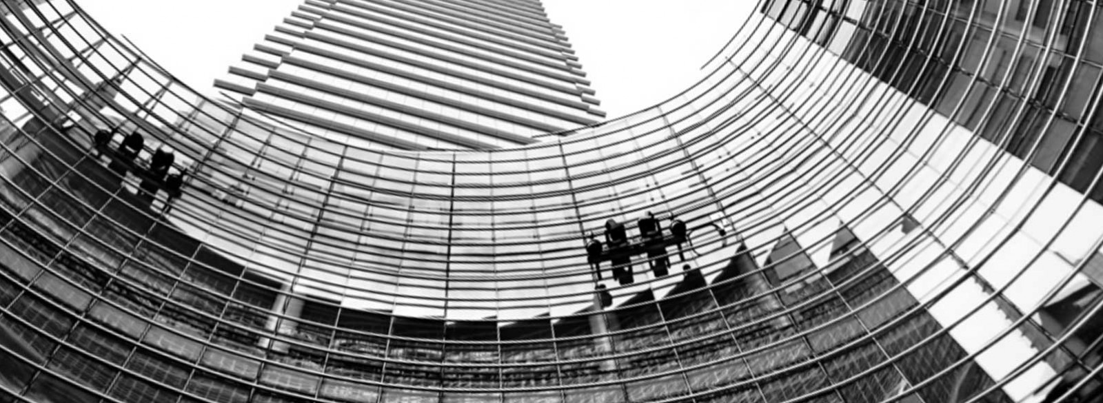 low angle photo curved building facade