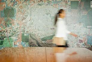 Detailed wall map of neighborhood in an meeting room