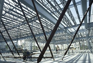 Photo intricate steel building construction in progress.